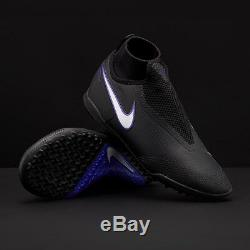 $160 New Nike React Phantom Vision Pro DF TF Turf Soccer Shoes Black-Blue Indoor