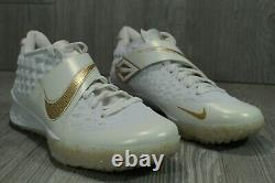63 Nike Force Zoom Trout 6 Turf Sneakers White/Gold AT3463-101 Mens Shoes SZ 11