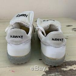 HAWKS Vtg 1980s White Baseball Coach Studded Turf Cleats Shoes, Mens 10