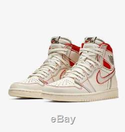 NEW 2019 Nike Air Jordan 1 Retro High OG Men Sail Phantom Red 555088-160 SIZE 11