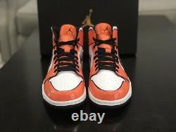 NEW Nike Air Jordan 1 Mid SE Shoe Turf Orange Black White DD6834-802 Men's Shoe