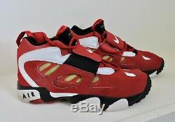 NIKE AIR DIAMOND TURF 2 II Sz 11.5 Black Red Gold Varsity Deion Sanders Shoes