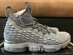 NIKE Lebron XV 15 City Edition Men's sz 12 Wolf Grey Gold 897648 005