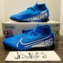 NIKE Mercurial Superfly 7 Elite TF Turf Soccer Shoes Blue AT7981-414 Mens 10