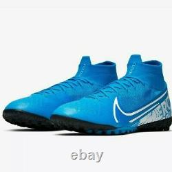 NIKE Mercurial Superfly 7 Elite TF Turf Soccer Shoes Blue AT7981-414 Mens 11.5