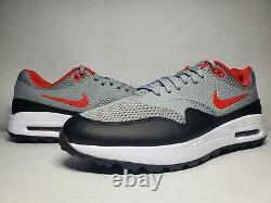 New (Men's 10) Nike Air Max 1 G Grey Red Black Turf Golf Shoes (CI7576-002)