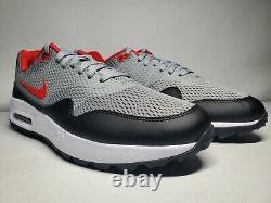 New (Men's 11.5) Nike Air Max 1 G Grey Red Black Turf Golf Shoes (CI7576-002)