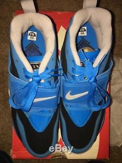 New Mens Nike Air Diamond Turf Size 10.5 Black/Wolf Grey-Blue Hero Deion Sanders