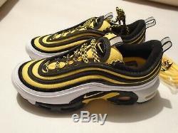 New Nike Air Max 97 Plus TN Frequency PK Men's Sz 8 Shoes Yellow Blk AV7936-100