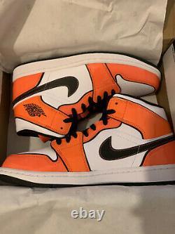 Nike Air Jordan 1 MID Turf Orange Black New White Trainer Shoe Size Uk 9 Us 10