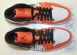 Nike Air Jordan 1 Mid SE Shoe Turf Orange Black White DD6834-802 Men's 9.5