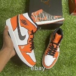 Nike Air Jordan 1 Mid SE Shoe Turf Orange Black White DD6834-802 Men's sz 10