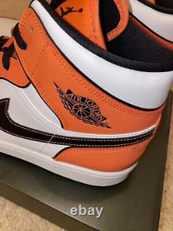 Nike Air Jordan 1 Mid SE Shoes Turf Orange Black White DD6834-802 Men's Size 13
