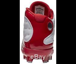 Nike Air Jordan Retro XIII 13 Cleat Cherry Red Baseball/Football Turf High Mens