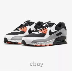 Nike Air Max 90 Running Shoes White Black Turf Orange DC9845-100 Men's NEW 9.5
