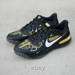 Nike Alpha Huarache Elite 3 Turf Premium Mens Size 10 Black Shoes CV3561 001