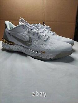 Nike Alpha Huarache Elite 3 Turf Shoes White/Solar Flare CV3560-101 Mens 11.5