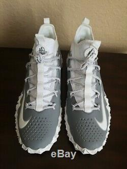 Nike Alpha Huarache Elite 6 LAX Turf Shoes White Grey 923426-102 Men's Sz. 13