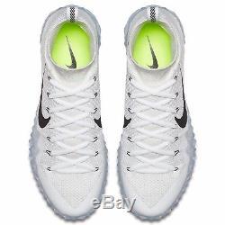 Nike Alpha Sensory Turf 854312-101 White/Black Flyknit Men's Soccer Shoes Sz 10