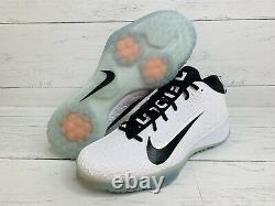 Nike Force Zoom Mike Trout 5 Turf Shoes White Black Size 12 AH3374-110
