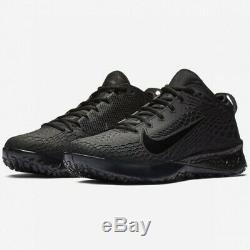 Nike Force Zoom Trout 5 Baseball Turf Shoes Triple Black Size 12 AH3374-002