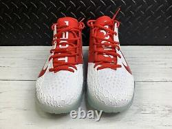 Nike Force Zoom Trout 5 Turf Shoes White University Red AH3374-161 Mens Sz 9.5