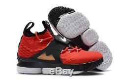 Nike Lebron 15 XV Prime Time Red Diamond Turf Pe Ao9144 600 Us Mens Sz 10.5