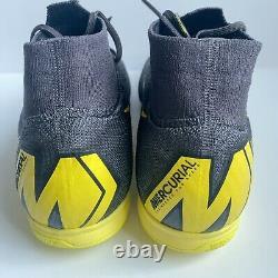 Nike Superfly 6 Elite TF ACC Turf Soccer Shoes Grey Yellow AH7374-070 Sze 12.5