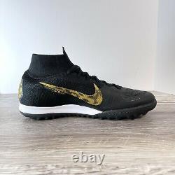 Nike Superfly 6 Elite Turf Indoor Soccer Shoes AH7374 077 Black Gold Mens Sz 9.5