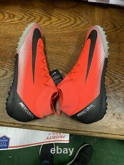 Nike mercurial Superfly 6 Academy CR7 TURF Red Silver Soccer Shoes Size 10 Only