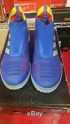 Try-on Adidas Men's Predator 19 + TF Blue White Boost Turf Soccer Shoes BB9082 9