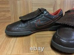 Vintage Nike Air Turf Golf Spikeless Shoes Orange Brown Leather 9.5 306634-261